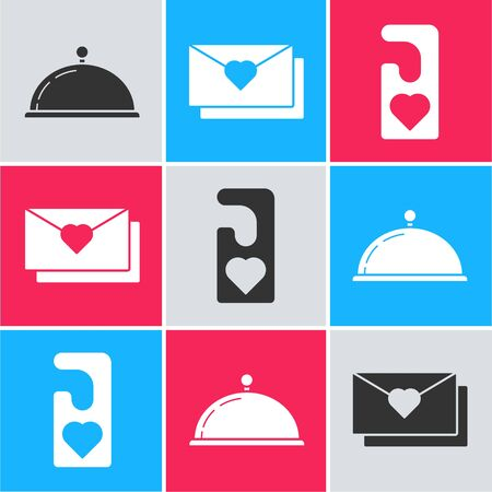 Set Covered with a tray of food, Envelope with Valentine heart and Please do not disturb with heart icon. Vector