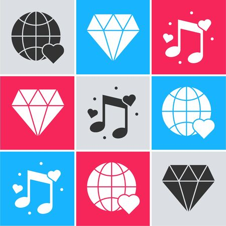 Set The heart world love, Diamond and Music note, tone with hearts icon. Vector