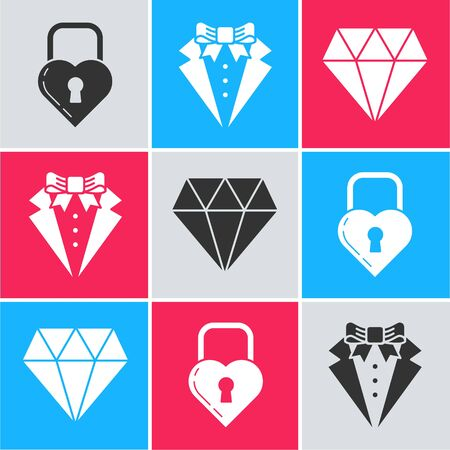 Set Castle in the shape of a heart, Suit and Diamond icon. Vector