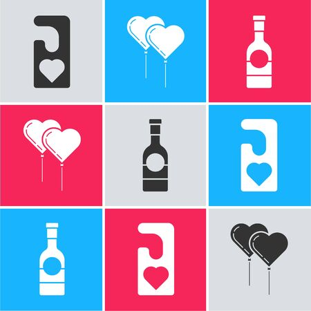Set Please do not disturb with heart, Balloons in form of heart with ribbon and Champagne bottle icon. Vector