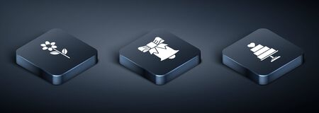 Set Isometric Flower, Wedding cake with heart and Ringing bell icon. Vector  イラスト・ベクター素材