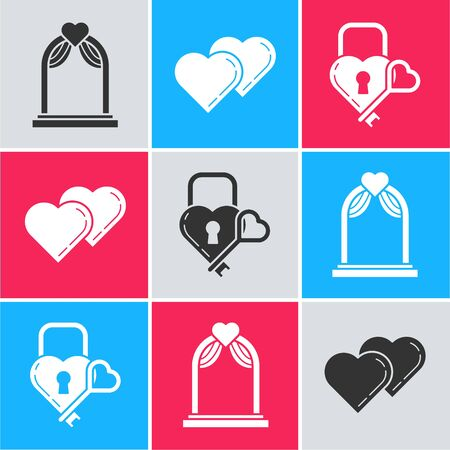 Set Wedding arch, Two Linked Hearts and Castle in the shape of a heart and key icon. Vector 일러스트