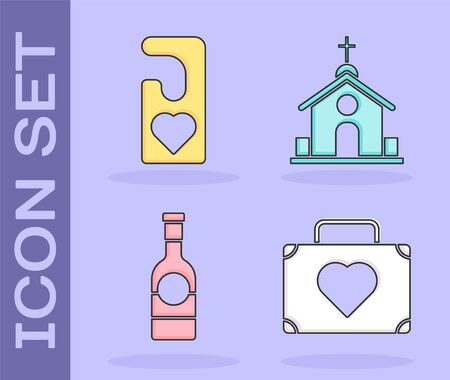 Set Suitcase for travel with heart, Please do not disturb with heart, Champagne bottle and Church building icon. Vector
