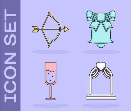 Set Wedding arch, Bow and arrow, Glass of champagne and Ringing bell icon. Vector