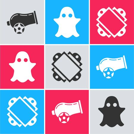 Set Cannon, Ghost and Ticket icon. Vector Illustration