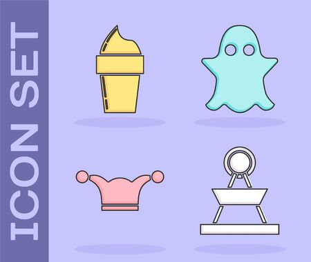 Set Attraction carousel, Ice cream in waffle cone, Jester hat with bells and Ghost icon. Vector