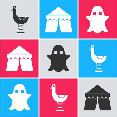 Set Riding kid duck, Circus tent and Ghost icon. Vector