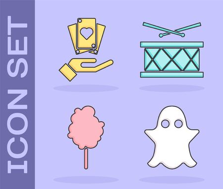 Set Ghost, Hand holding playing cards, Cotton candy and Drum with drum sticks icon. Vector