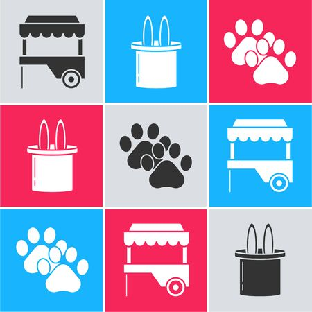 Set Fast street food cart with awning, Magician hat and rabbit ears and Paw print icon. Vector Vectores