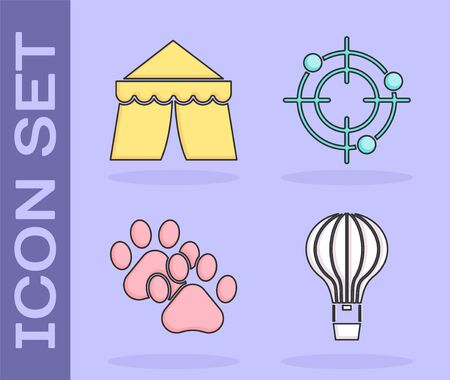 Set Hot air balloon, Circus tent, Paw print and Target sport for shooting competition icon. Vector