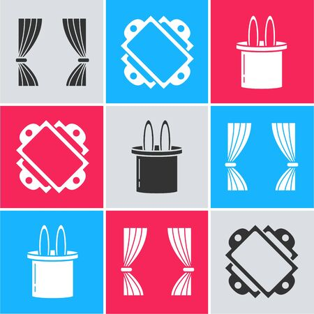 Set Curtain, Ticket and Magician hat and rabbit ears icon. Vector