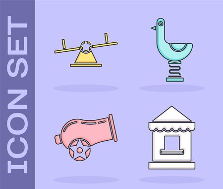 Set Ticket box office, Seesaw, Cannon and Riding kid duck icon. Vector