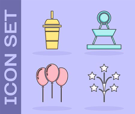 Set Fireworks, Paper glass with drinking straw and water, Balloons with ribbon and Attraction carousel icon. Vector