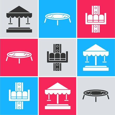 Set Attraction carousel, Jumping trampoline and Attraction carousel icon. Vector