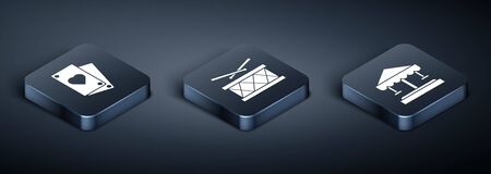 Set Isometric Playing card, Attraction carousel and Drum with drum sticks icon. Vector