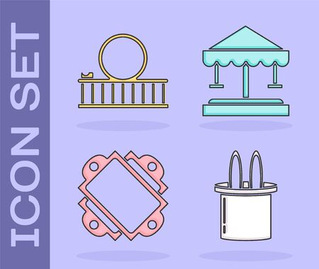 Set Magician hat and rabbit ears, Roller coaster, Ticket and Attraction carousel icon. Vector Illustration