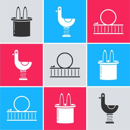 Set Magician hat and rabbit ears, Riding kid duck and Roller coaster icon. Vector Illustration