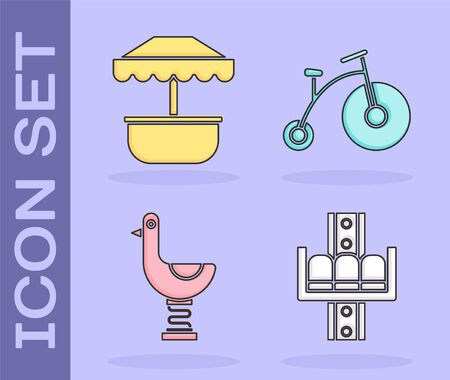 Set Attraction carousel, Attraction carousel, Riding kid duck and Vintage bicycle with one big wheel and one small icon. Vector