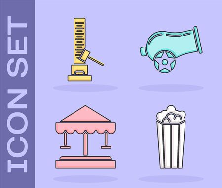 Set Popcorn in cardboard box, High striker attraction with big hammer, Attraction carousel and Cannon icon. Vector