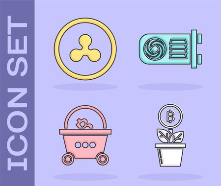 Set Bitcoin plant in the pot, Cryptocurrency coin Ripple XRP, Shopping basket with bitcoin and Mining farm icon. Vector
