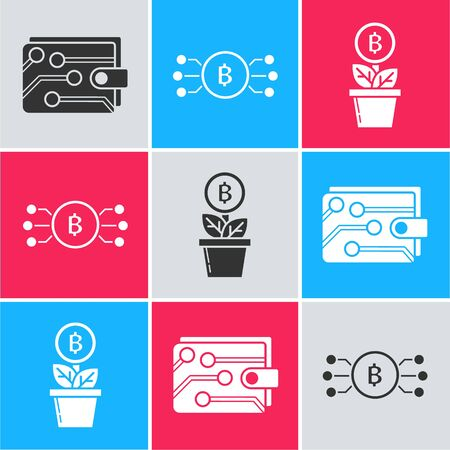Set Cryptocurrency wallet, Cryptocurrency bitcoin in circle with microchip circuit and Bitcoin plant in the pot icon. Vector Illusztráció