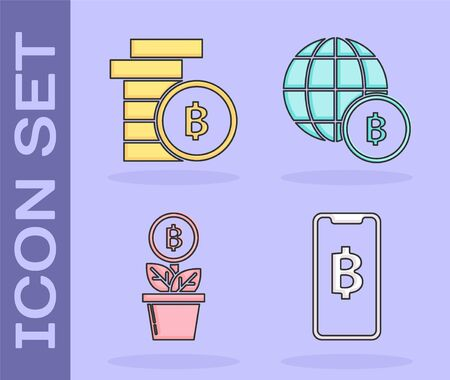 Set Phone mobile and cryptocurrency coin Bitcoin, Cryptocurrency coin Bitcoin, Bitcoin plant in the pot and Globe and cryptocurrency coin Bitcoin icon. Vector