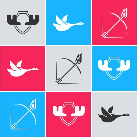 Set Moose horns on shield, Flying duck and Bow and fire arrow icon. Vector 向量圖像