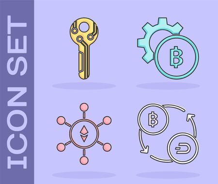 Set Cryptocurrency exchange, Cryptocurrency key, Blockchain technology Ethereum ETH and Cryptocurrency coin Bitcoin icon. Vector Vector Illustration