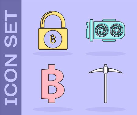 Set Pickaxe, Lock with bitcoin, Cryptocurrency coin Bitcoin and Mining farm icon. Vector Vector Illustration