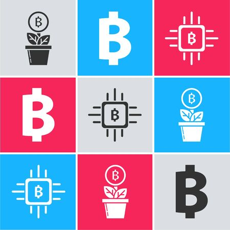 Set Bitcoin plant in the pot, Cryptocurrency coin Bitcoin and CPU mining farm icon. Vector Illusztráció