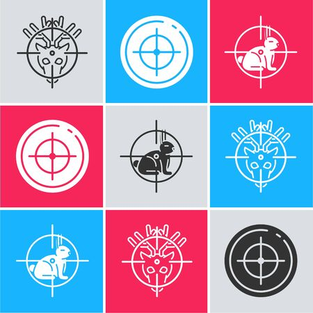 Set Hunt on deer with crosshairs, Target sport for shooting competition and Hunt on rabbit with crosshairs icon. Vector