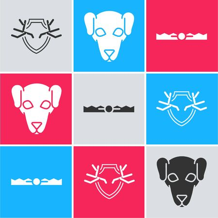 Set Deer antlers on shield, Hunting dog and Trap hunting icon. Vector