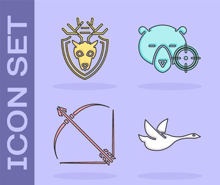 Set Flying duck, Deer head with antlers on shield, Bow and arrow in quiver and Hunt on bear with crosshairs icon. Vector Vettoriali