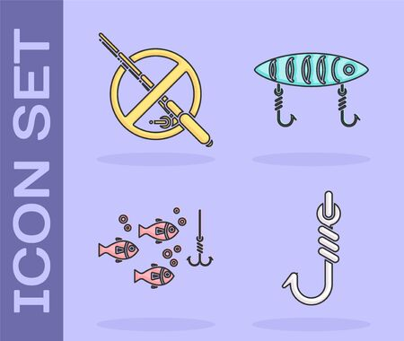 Set Fishing hook, No fishing, Fishing hook under water with fish and Fishing lure icon. Vector Illustration