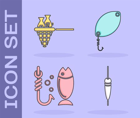 Set Fishing float, Fishing net with fish, Fishing and Fishing spoon icon. Vector