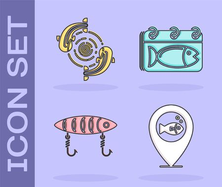 Set Location fishing, Fish, Fishing lure and Calendar with a fish icon. Vector