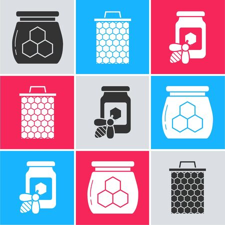 Set Jar of honey, Honeycomb and Jar of honey with bee icon. Vector