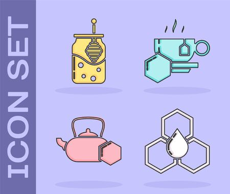 Set Honeycomb, Jar of honey and honey dipper stick, Tea kettle with honey and Cup of tea with honey icon. Vector