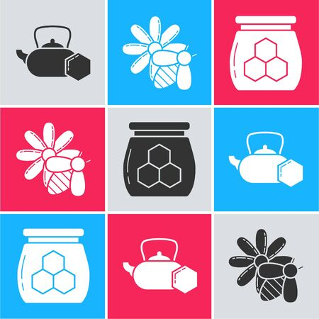 Set Tea kettle with honey, Bee and flower and Jar of honey icon. Vector
