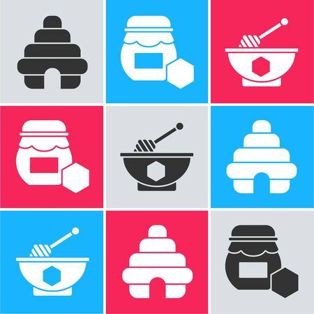 Set Hive for bees, Jar of honey and Honey dipper stick and bowl icon. Vector Illusztráció