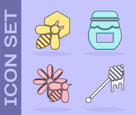 Set Honey dipper stick with dripping honey, Bee and honeycomb, Bee and flower and Jar of honey icon. Vector