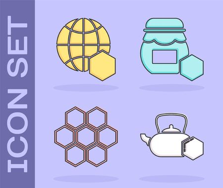 Set Tea kettle with honey, Honeycomb map of the world, Honeycomb and Jar of honey icon. Vector