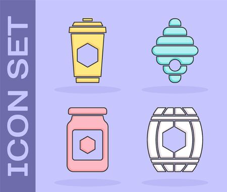 Set Wooden barrel with honey, Cup of tea with honey, Jar of honey and Hive for bees icon. Vector Illusztráció