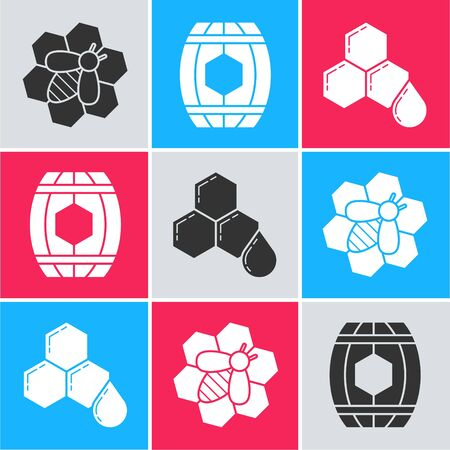 Set Bee and honeycomb, Wooden barrel with honey and Honeycomb icon. Vector