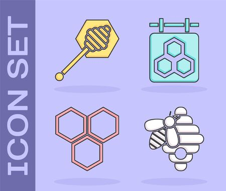 Set Hive for bees, Honey dipper stick, Honeycomb and Hanging sign with honeycomb icon. Vector 向量圖像