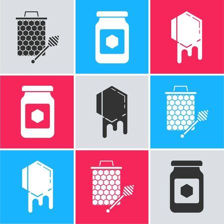 Set Honeycomb with honey dipper stickicon, Jar of honey and Honeycomb icon. Vector Illusztráció