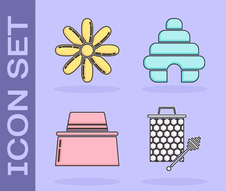 Set Honeycomb with honey dipper stickicon, Flower, Beekeeper with protect hat and Hive for bees icon. Vector
