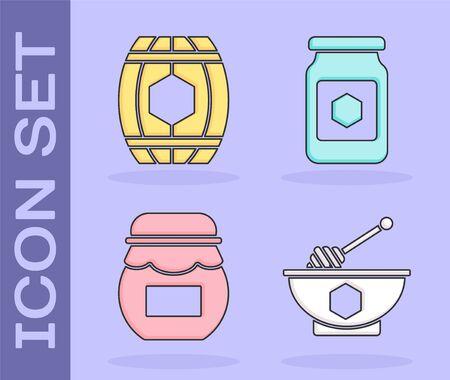 Set Honey dipper stick and bowl, Wooden barrel with honey, Jar of honey and Jar of honey icon. Vector Illusztráció