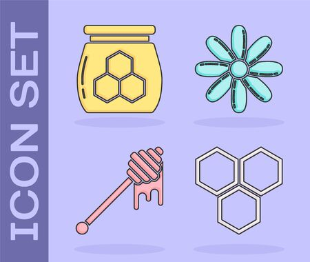 Set Honeycomb, Jar of honey, Honey dipper stick with dripping honey and Flower icon. Vector