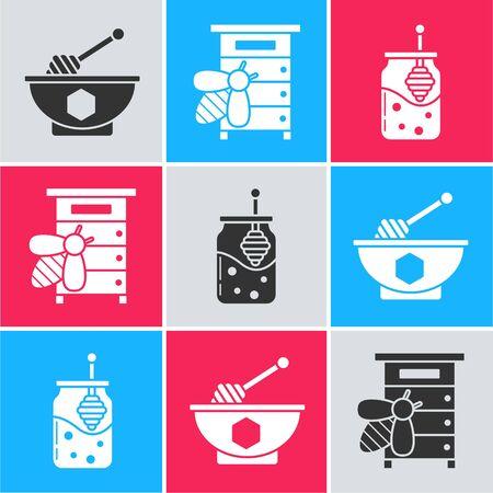 Set Honey dipper stick and bowl, Hive for bees and Jar of honey and honey dipper stick icon. Vector Illusztráció